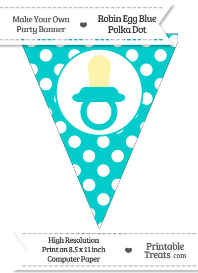 Robin Egg Blue Polka Dot Pennant Flag with Baby Pacifier from PrintableTreats.com