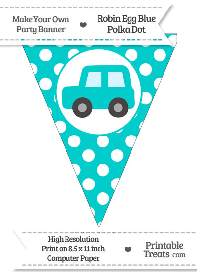 Robin Egg Blue Polka Dot Pennant Flag with Car Facing Left from PrintableTreats.com