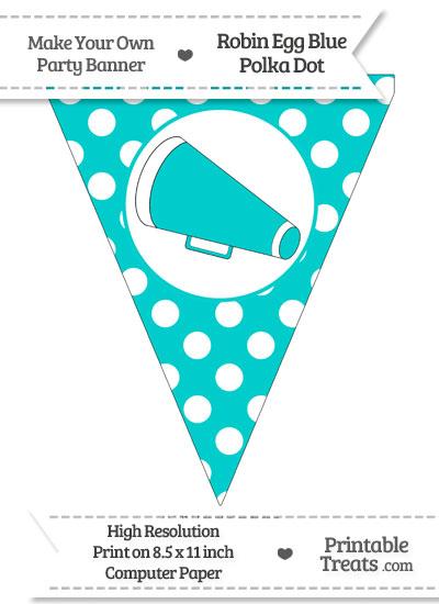 Robin Egg Blue Polka Dot Pennant Flag with Cheer Megaphone Facing Left from PrintableTreats.com