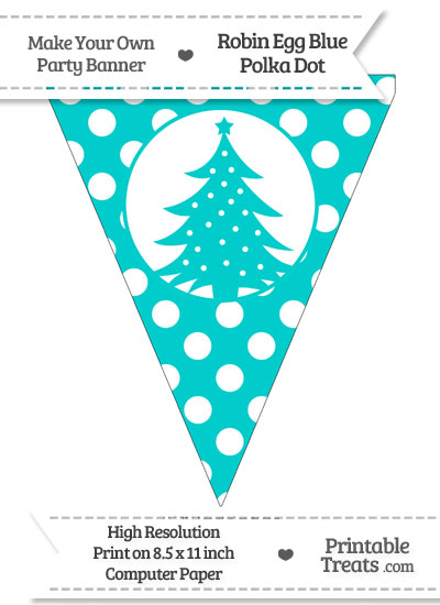Robin Egg Blue Polka Dot Pennant Flag with Christmas Tree from PrintableTreats.com