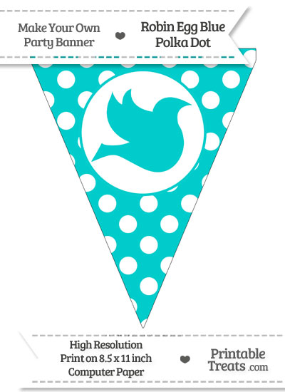 Robin Egg Blue Polka Dot Pennant Flag with dove Facing Right from PrintableTreats.com