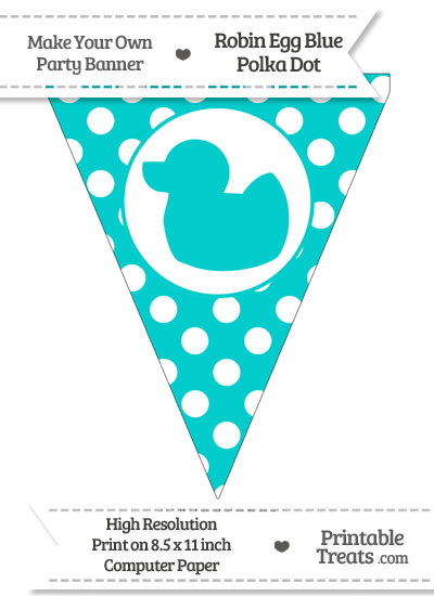 Robin Egg Blue Polka Dot Pennant Flag with Duck Facing Left from PrintableTreats.com