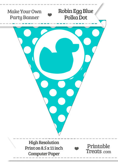 Robin Egg Blue Polka Dot Pennant Flag with Duck Facing Right from PrintableTreats.com