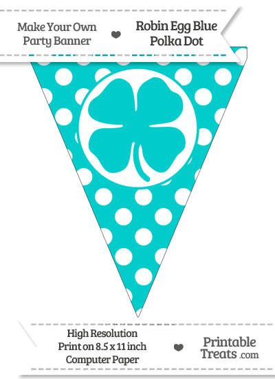 Robin Egg Blue Polka Dot Pennant Flag with Four Leaf Clover Facing Left from PrintableTreats.com
