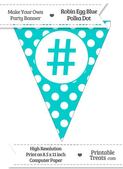 Robin Egg Blue Polka Dot Pennant Flag with Hash Character from PrintableTreats.com