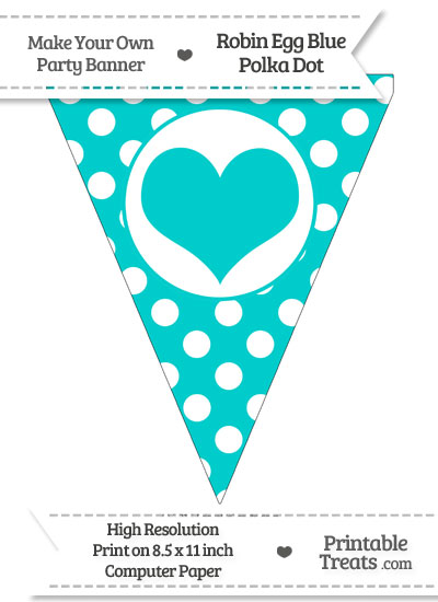 Robin Egg Blue Polka Dot Pennant Flag with Heart from PrintableTreats.com