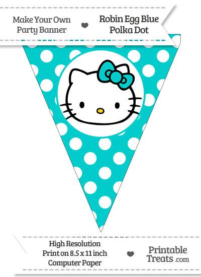 Robin Egg Blue Polka Dot Pennant Flag with Hello Kitty from PrintableTreats.com
