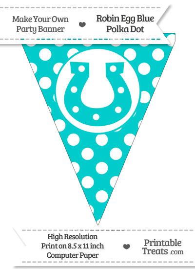 Robin Egg Blue Polka Dot Pennant Flag with Horseshoe from PrintableTreats.com