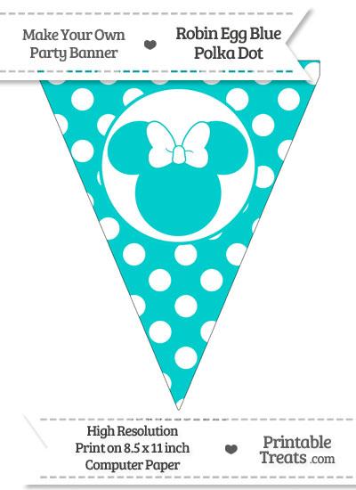 Robin Egg Blue Polka Dot Pennant Flag with Minnie Mouse from PrintableTreats.com