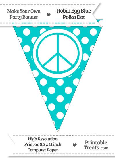Robin Egg Blue Polka Dot Pennant Flag with Peace Sign from PrintableTreats.com