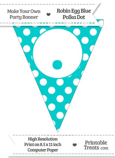 Robin Egg Blue Polka Dot Pennant Flag with Period from PrintableTreats.com