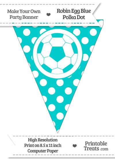 Robin Egg Blue Polka Dot Pennant Flag with Soccer Ball from PrintableTreats.com