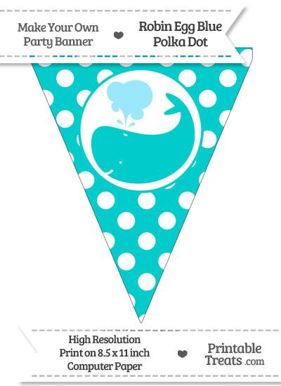 Robin Egg Blue Polka Dot Pennant Flag with Whale Facing Left from PrintableTreats.com