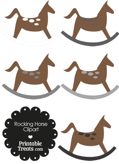 Rocking Horse Clipart with Grey Dots from PrintableTreats.com
