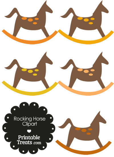 Rocking Horse Clipart with Orange Dots from PrintableTreats.com
