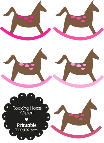 Rocking Horse Clipart with Pink Dots from PrintableTreats.com