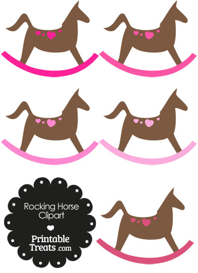 Rocking Horse Clipart with Pink Hearts from PrintableTreats.com