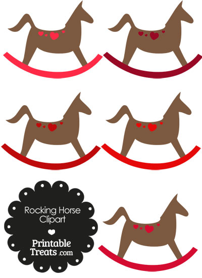 Rocking Horse Clipart with Red Hearts from PrintableTreats.com