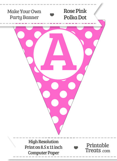 Rose Pink Polka Dot Pennant Flag Capital Letter A from PrintableTreats.com
