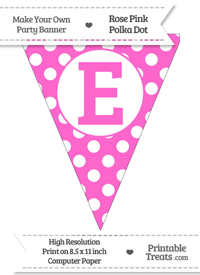 Rose Pink Polka Dot Pennant Flag Capital Letter E from PrintableTreats.com