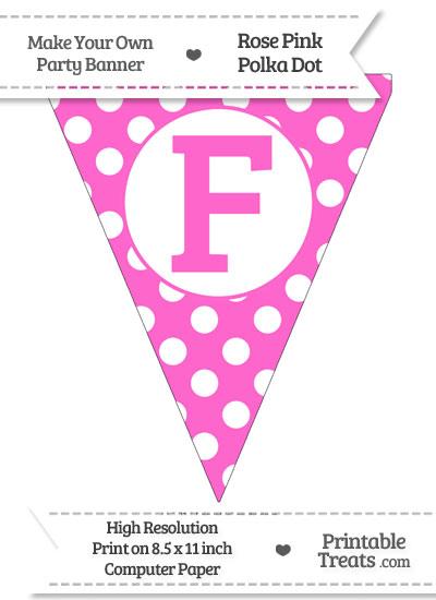 Rose Pink Polka Dot Pennant Flag Capital Letter F from PrintableTreats.com