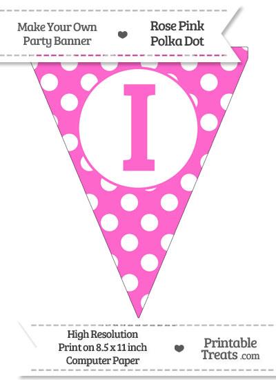 Rose Pink Polka Dot Pennant Flag Capital Letter I from PrintableTreats.com