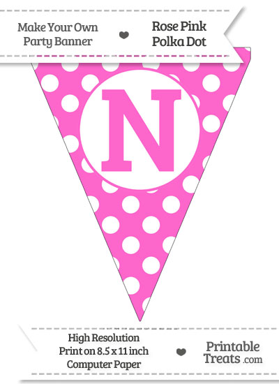 Rose Pink Polka Dot Pennant Flag Capital Letter N from PrintableTreats.com