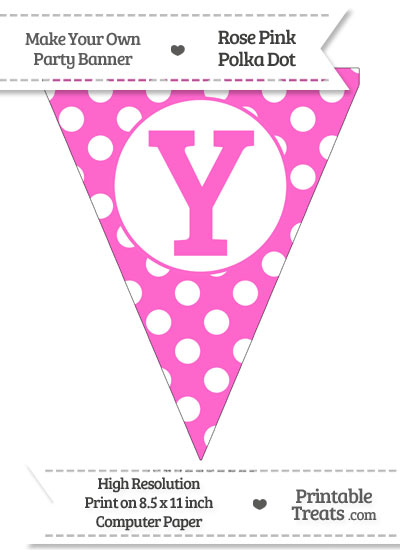 Rose Pink Polka Dot Pennant Flag Capital Letter Y from PrintableTreats.com