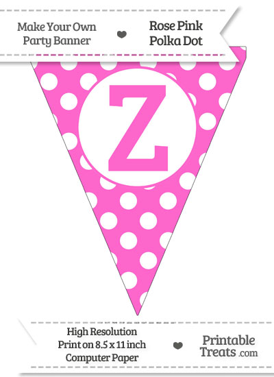 Rose Pink Polka Dot Pennant Flag Capital Letter Z from PrintableTreats.com