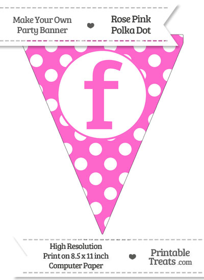 Rose Pink Polka Dot Pennant Flag Lowercase Letter F from PrintableTreats.com