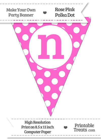 Rose Pink Polka Dot Pennant Flag Lowercase Letter N from PrintableTreats.com