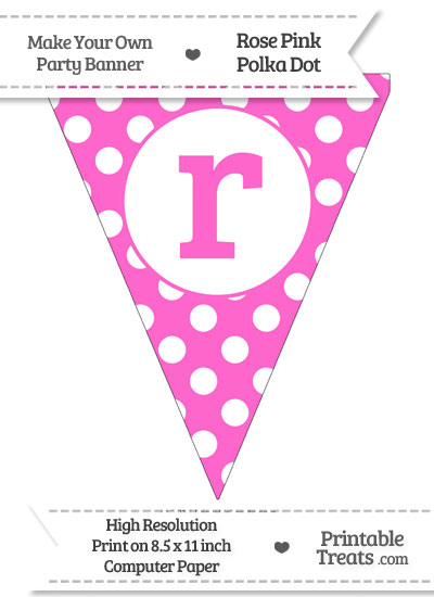 Rose Pink Polka Dot Pennant Flag Lowercase Letter R from PrintableTreats.com