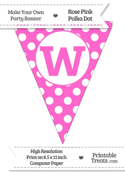 Rose Pink Polka Dot Pennant Flag Lowercase Letter W from PrintableTreats.com