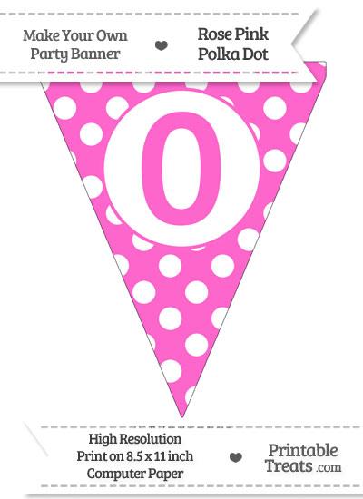Rose Pink Polka Dot Pennant Flag Number 0 from PrintableTreats.com