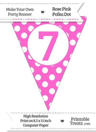 Rose Pink Polka Dot Pennant Flag Number 7 from PrintableTreats.com