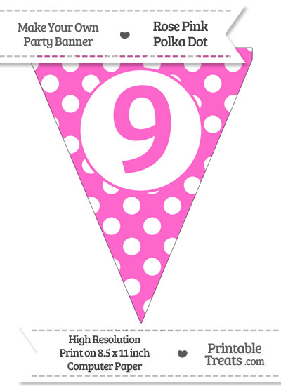 Rose Pink Polka Dot Pennant Flag Number 9 from PrintableTreats.com
