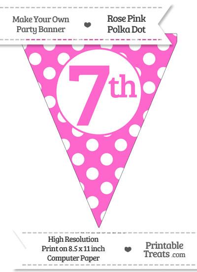Rose Pink Polka Dot Pennant Flag Ordinal Number 7th from PrintableTreats.com