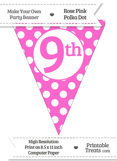 Rose Pink Polka Dot Pennant Flag Ordinal Number 9th from PrintableTreats.com