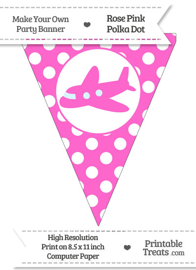 Rose Pink Polka Dot Pennant Flag with Airplane Facing Left from PrintableTreats.com