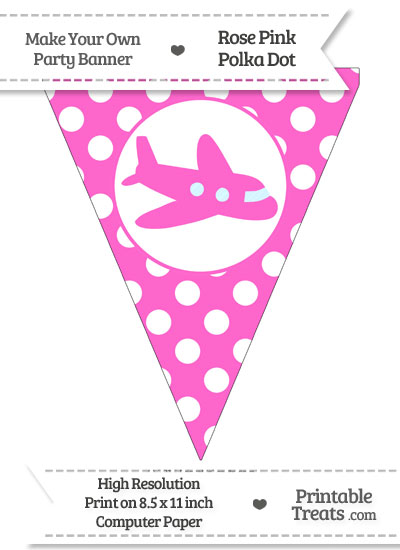 Rose Pink Polka Dot Pennant Flag with Airplane Facing Right from PrintableTreats.com