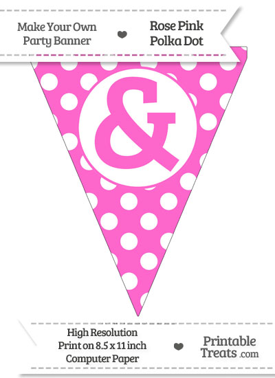 Rose Pink Polka Dot Pennant Flag with Ampersand from PrintableTreats.com