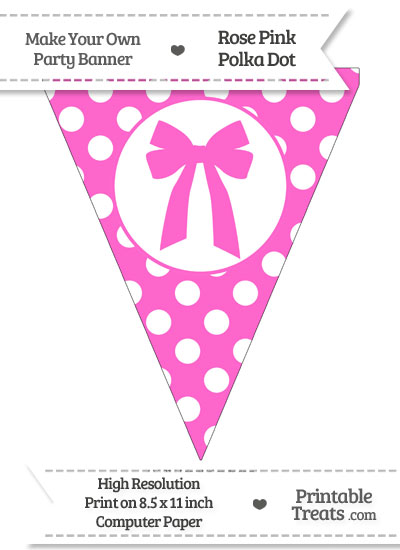 Rose Pink Polka Dot Pennant Flag with Bow from PrintableTreats.com