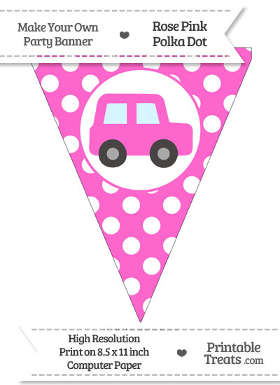 Rose Pink Polka Dot Pennant Flag with Car Facing Right from PrintableTreats.com