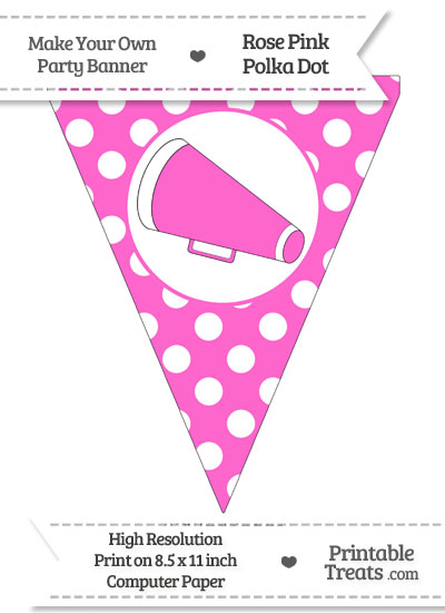 Rose Pink Polka Dot Pennant Flag with Cheer Megaphone Facing Left from PrintableTreats.com