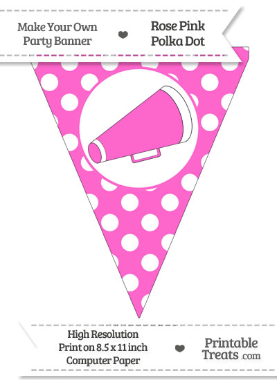 Rose Pink Polka Dot Pennant Flag with Cheer Megaphone Facing Right from PrintableTreats.com