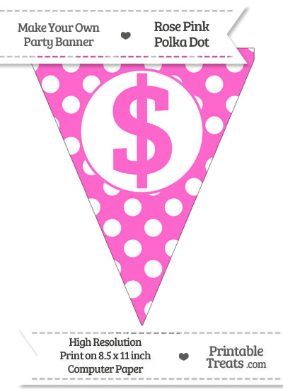 Rose Pink Polka Dot Pennant Flag with Dollar Sign from PrintableTreats.com