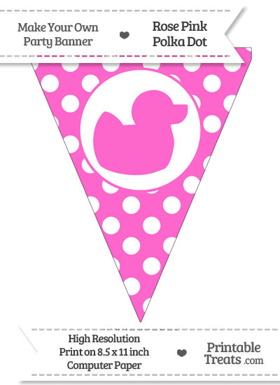Rose Pink Polka Dot Pennant Flag with Duck Facing Right from PrintableTreats.com