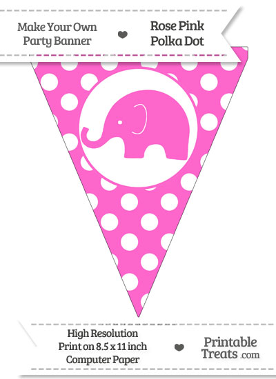 Rose Pink Polka Dot Pennant Flag with Elephant Facing Left from PrintableTreats.com
