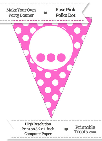 Rose Pink Polka Dot Pennant Flag with Ellipses from PrintableTreats.com