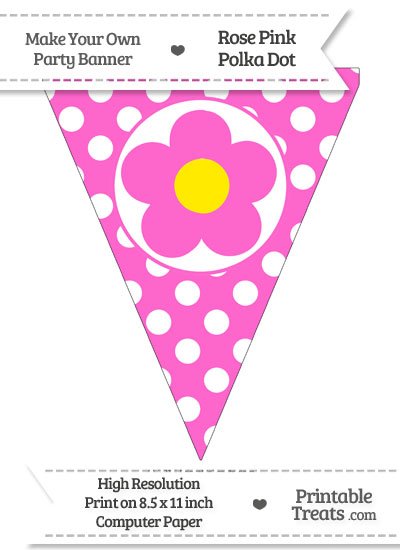 Rose Pink Polka Dot Pennant Flag with Flower from PrintableTreats.com
